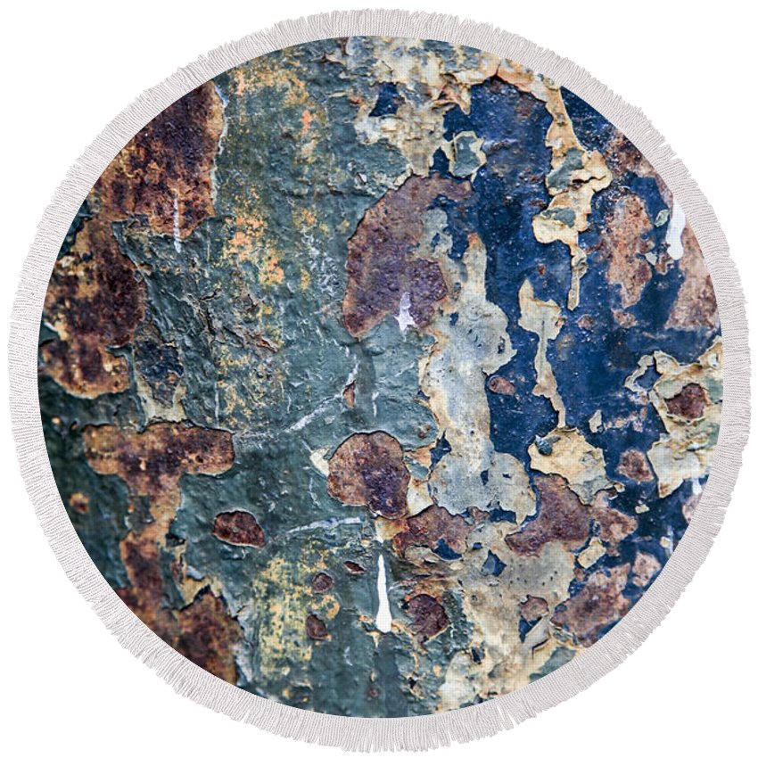 Rustic Round Beach Towel featuring the photograph Rust Closeup by Vladi Alon