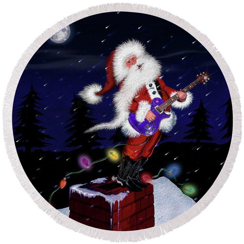 Chimney Round Beach Towel featuring the digital art Santa Plays Guitar In A Snowstorm by Doug LaRue