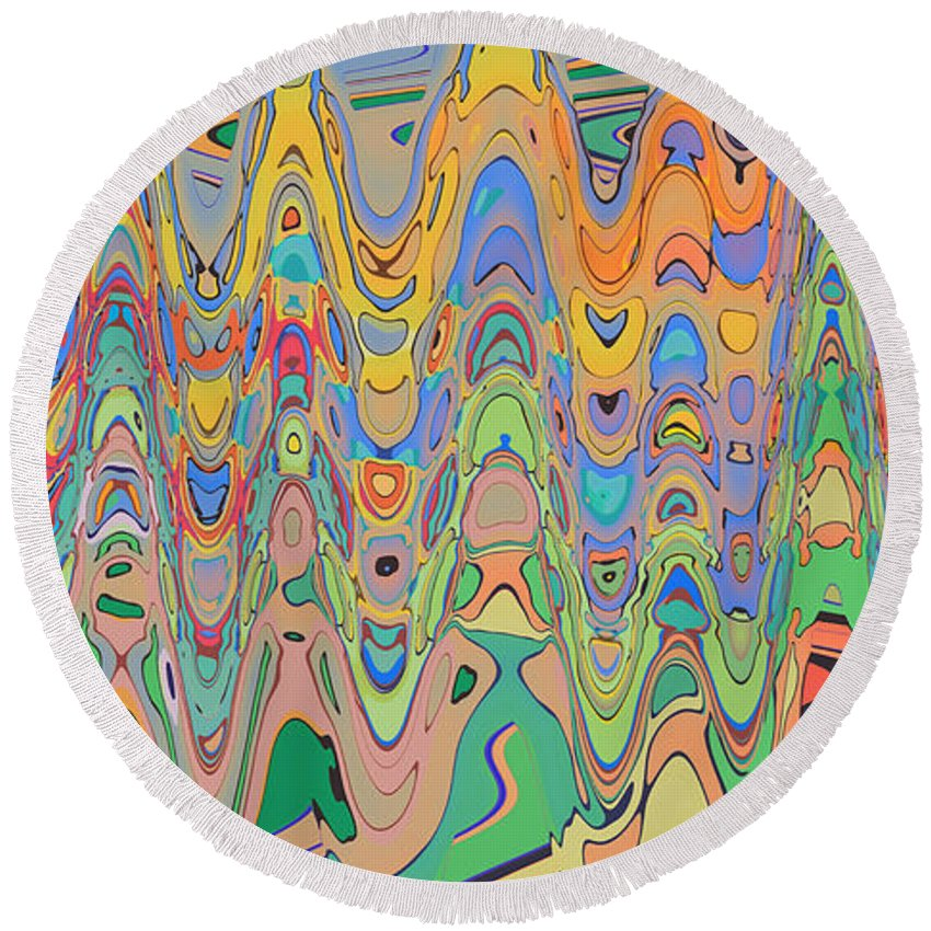 Round Beach Towel featuring the digital art School's Out by Steven Kelly Smith