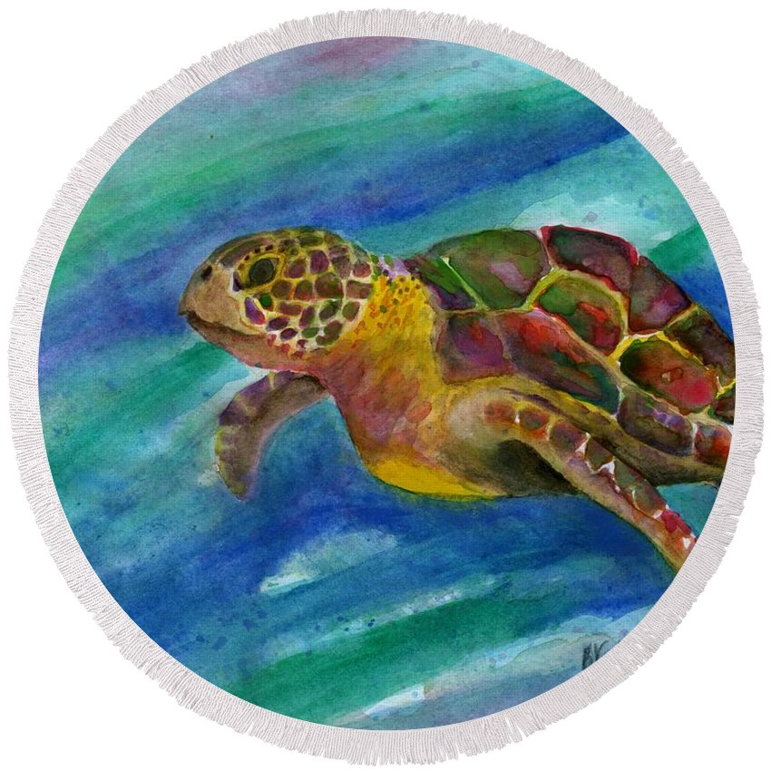 Sea Turtle Round Beach Towel featuring the painting Sea Turtle by Bev Veals