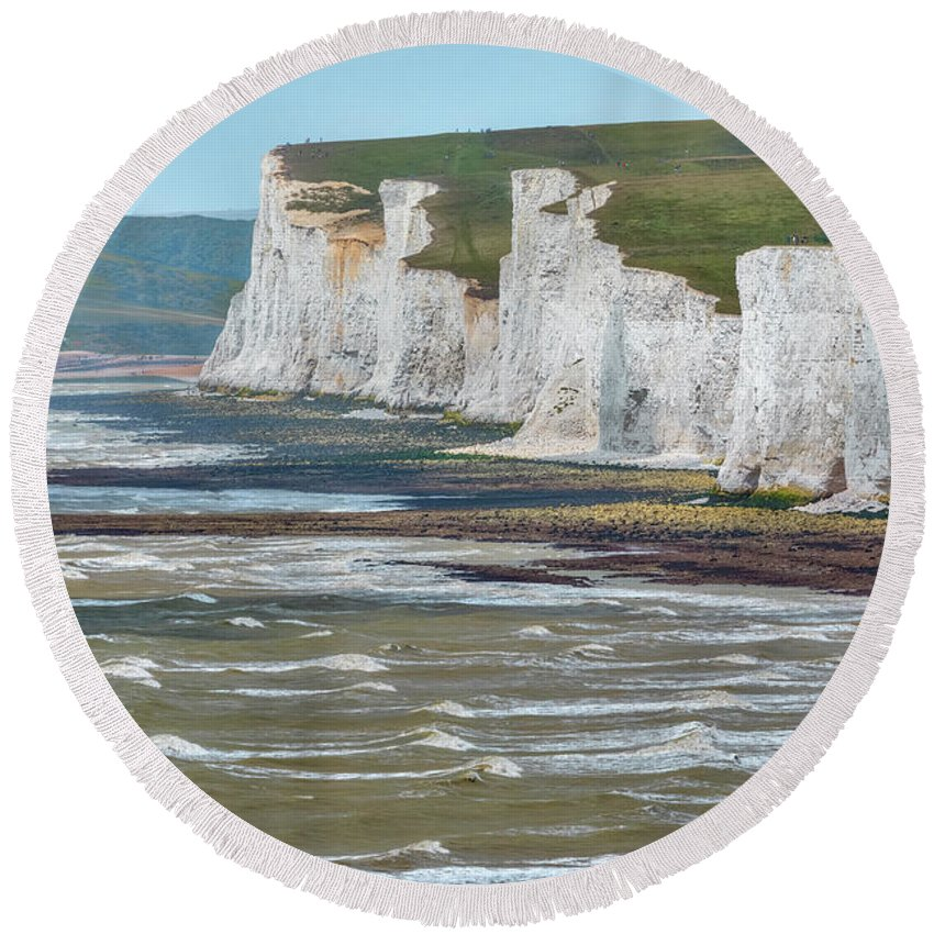 Seven Sisters Round Beach Towel featuring the photograph Seven Sisters - England by Joana Kruse
