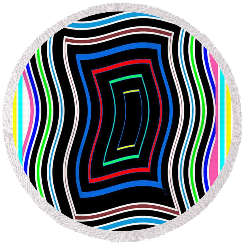 Smart Round Beach Towel featuring the mixed media Smart Graphics Techy Techno Kids Room Lowprice Wall Posters Graphic Abstracts For Throw Pillows Duve by Navin Joshi