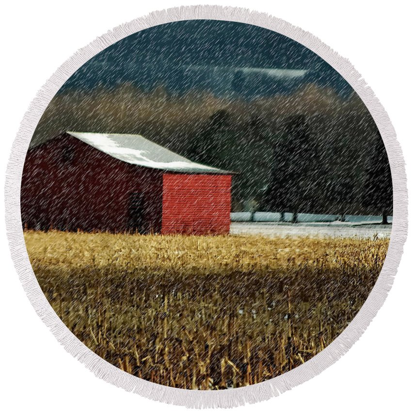 Barn Round Beach Towel featuring the photograph Snowy Red Barn In Winter by Lois Bryan