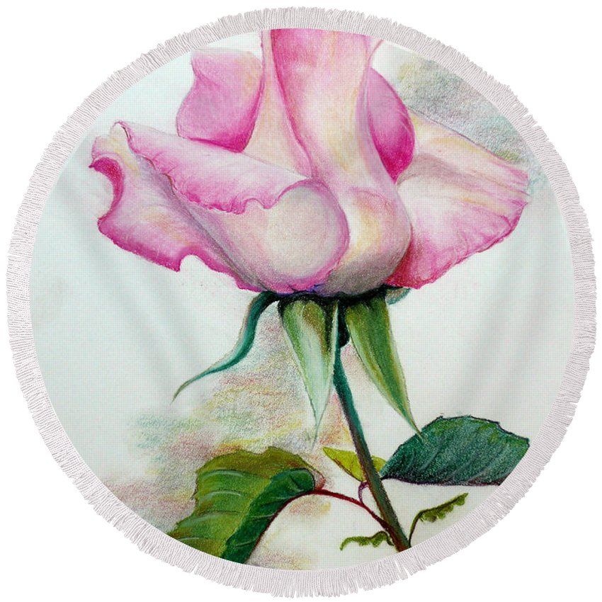 Rose Pastel Paintings Round Beach Towel featuring the pastel So Pink by Karin Dawn Kelshall- Best