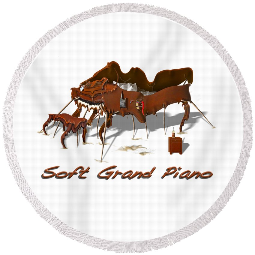 Piano T-shirt Round Beach Towel featuring the photograph Soft Grand Piano by Mike McGlothlen
