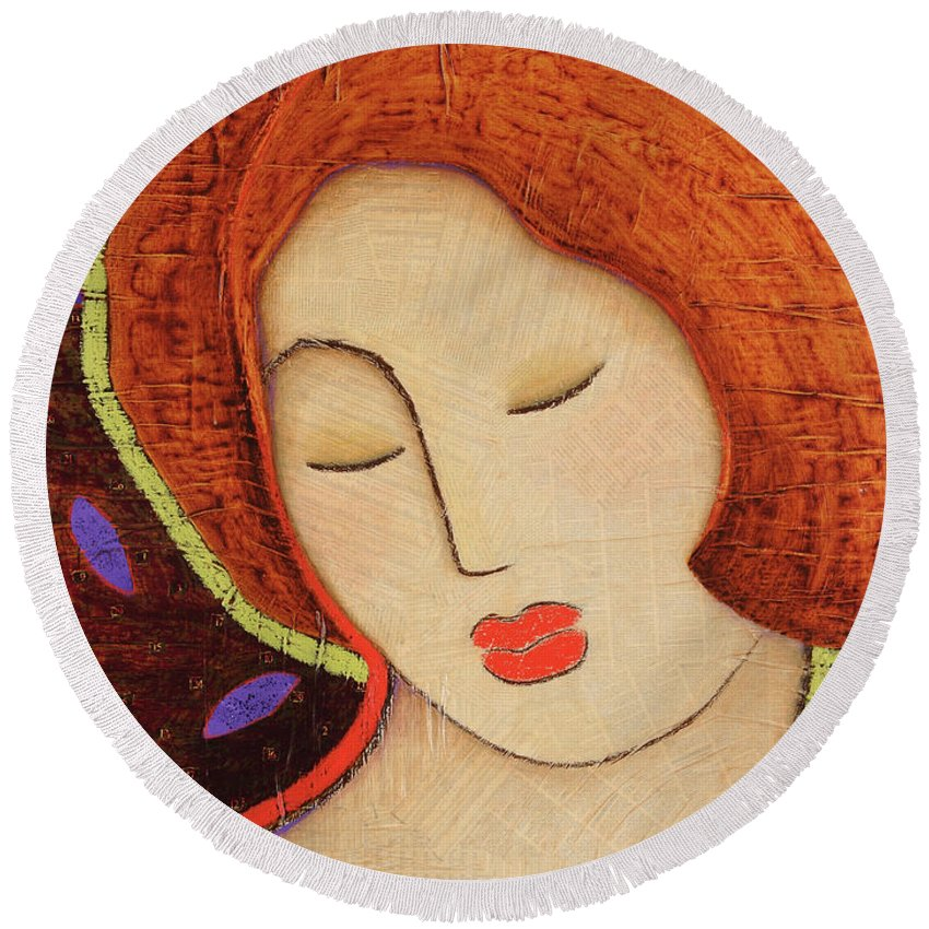 Icon Round Beach Towel featuring the painting Soul Memory by Gloria Rothrock
