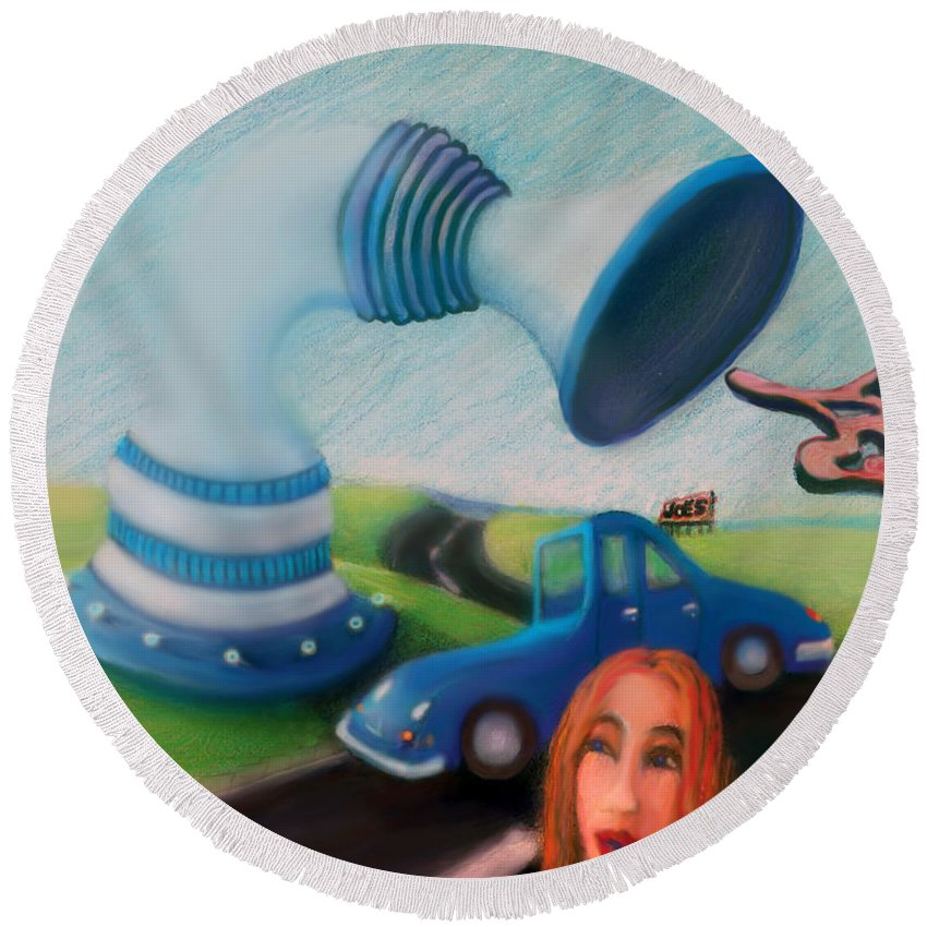 Round Beach Towel featuring the digital art Soul Sucking Sub-station by Steven Kelly Smith