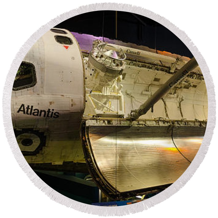 Space Round Beach Towel featuring the photograph Space Shuttle Atlantis by David Hart