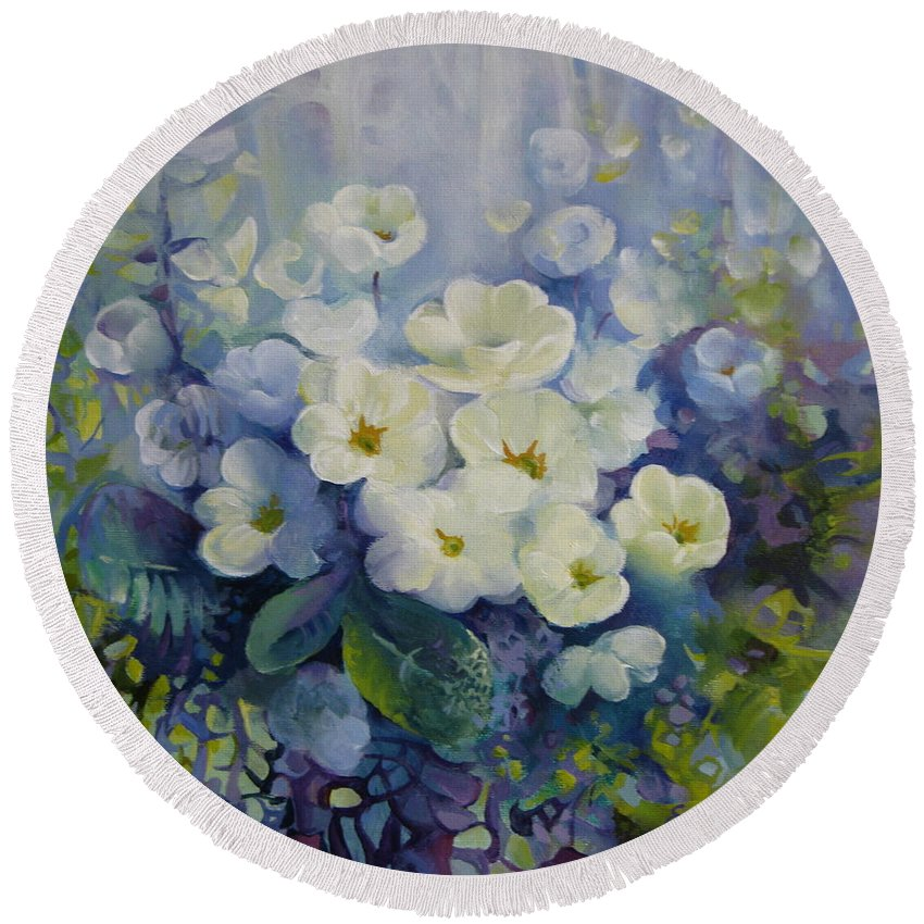 Primrose Round Beach Towel featuring the painting Spring by Elena Oleniuc