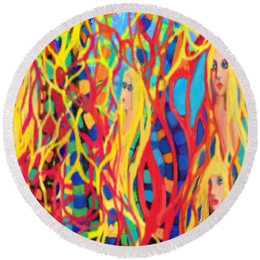 Round Beach Towel featuring the digital art Spring Fever by Steven Kelly Smith