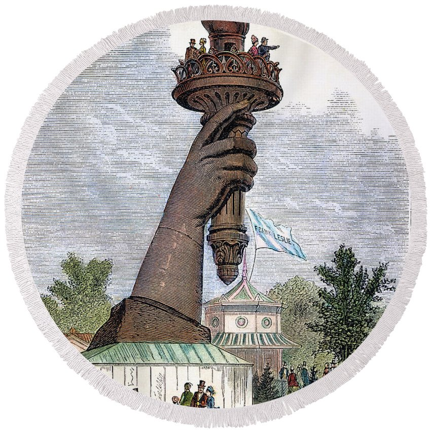 1876 Round Beach Towel featuring the photograph Statue Of Liberty, 1876 by Granger
