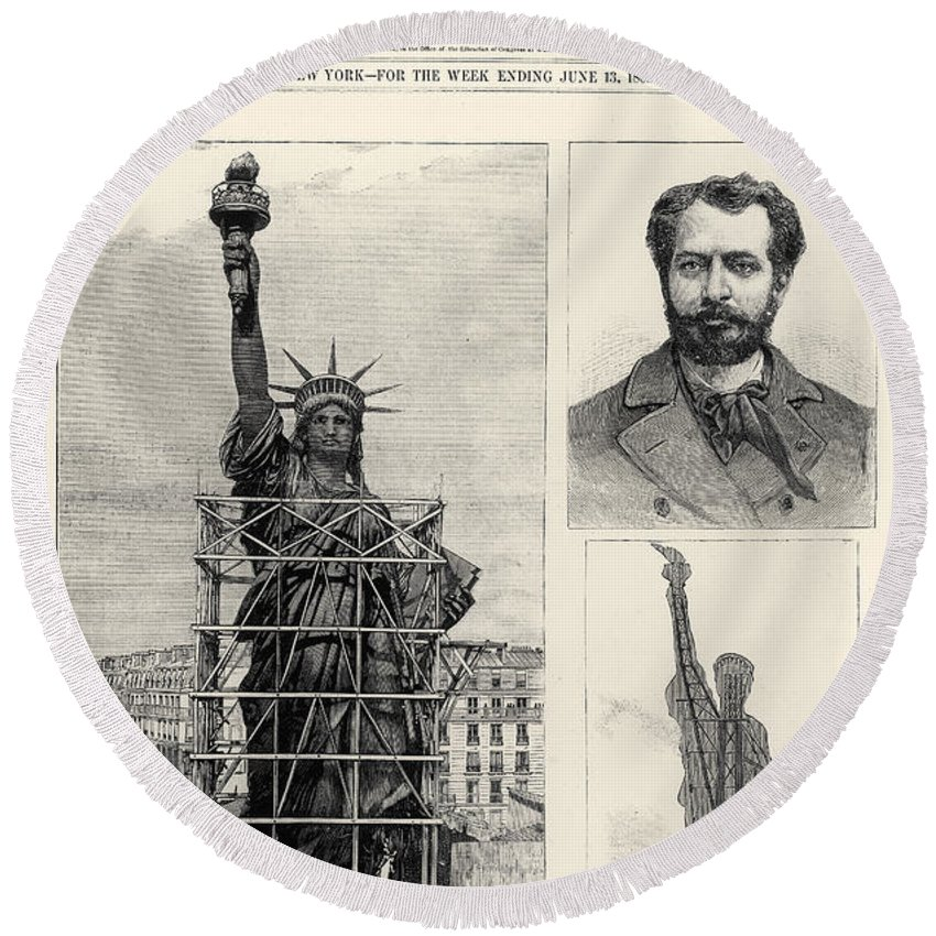 1885 Round Beach Towel featuring the photograph Statue Of Liberty, 1885 by Granger