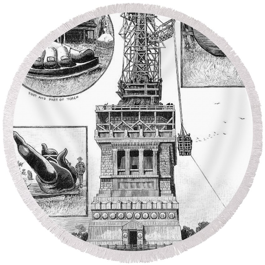 1886 Round Beach Towel featuring the photograph Statue Of Liberty by Granger
