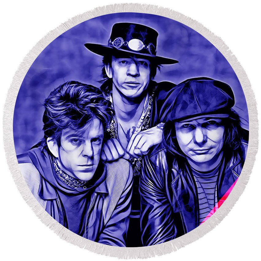 Stevie Ray Vaughan And Double Trouble Round Beach Towel featuring the mixed media Stevie Ray Vaughan And Double Trouble Collection by Marvin Blaine