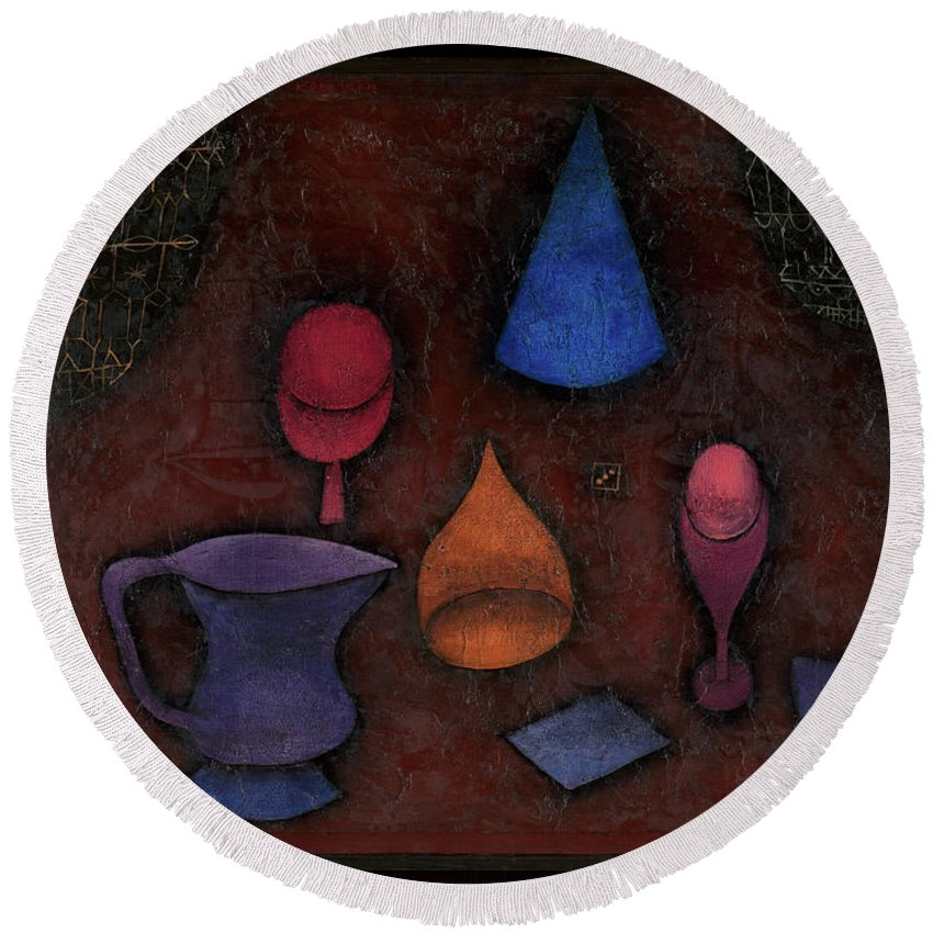 Paul Klee Still Life Round Beach Towel featuring the painting Still Life by Paul Klee