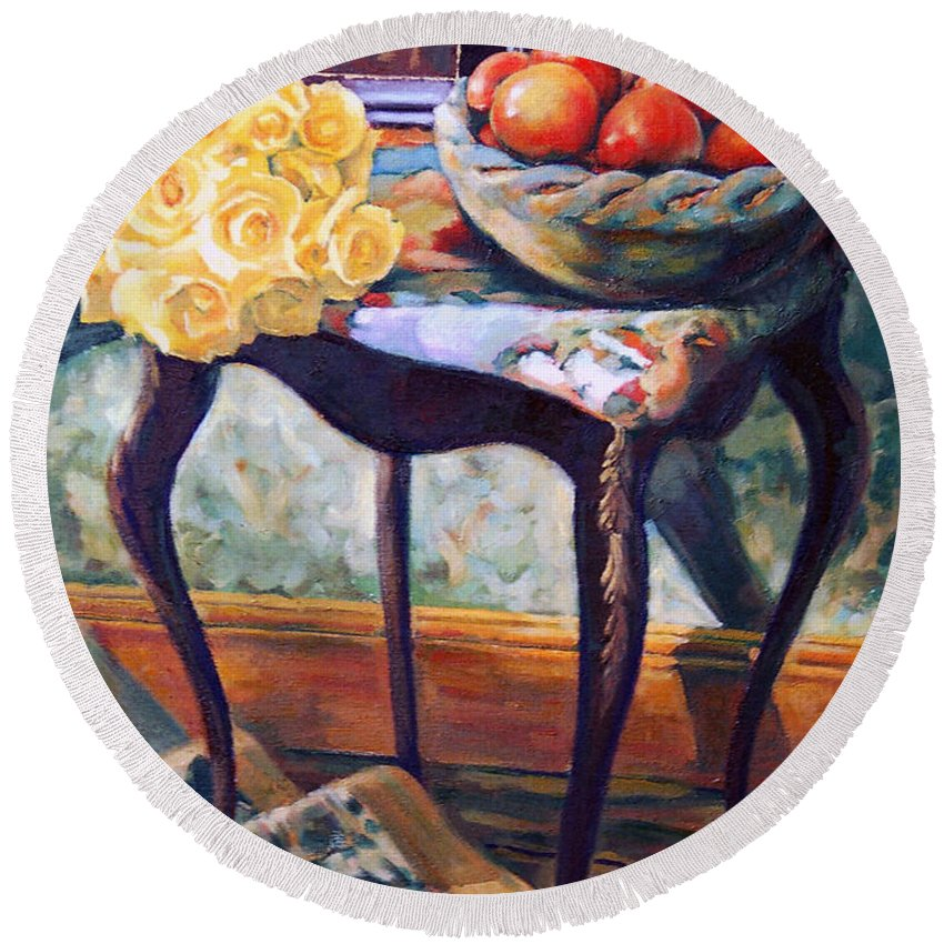 Still Life Round Beach Towel featuring the painting Still Life With Roses by Iliyan Bozhanov
