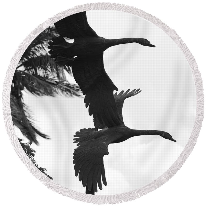 Black And White Round Beach Towel featuring the photograph Stone Birds by Rob Hans
