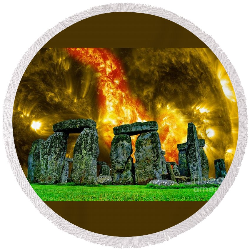 Witchcraft Round Beach Towel featuring the digital art Stonehenge by Frederick Holiday