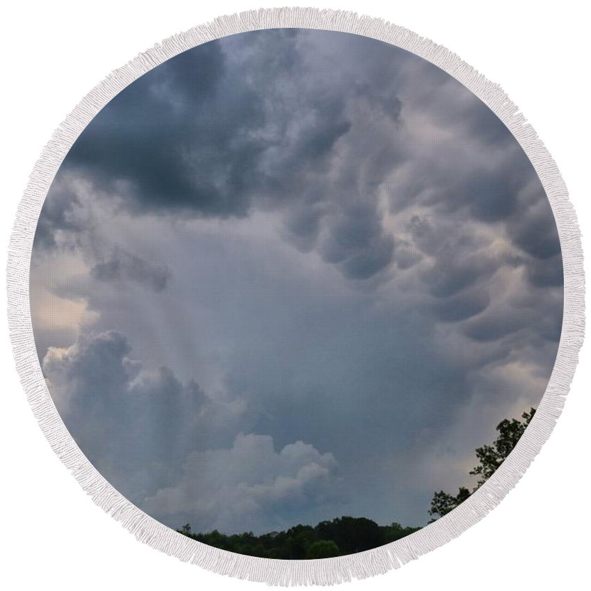 Storm Round Beach Towel featuring the photograph Storm Cell by Kathryn Meyer