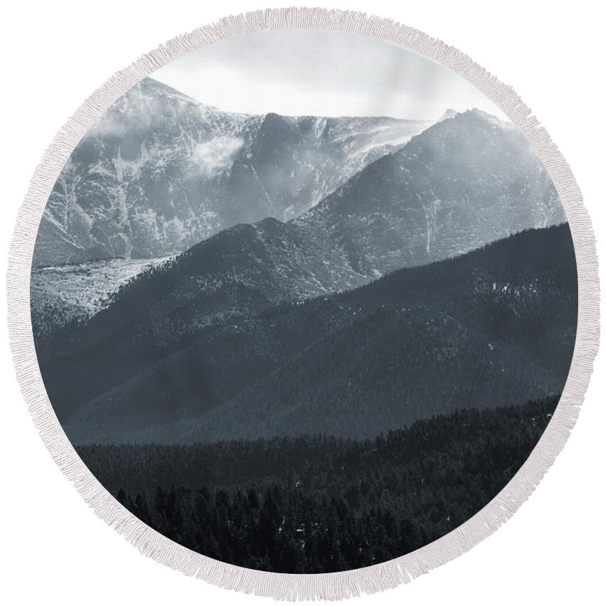 Pikes Peak Round Beach Towel featuring the photograph Stormy Pikes Peak by Steve Krull
