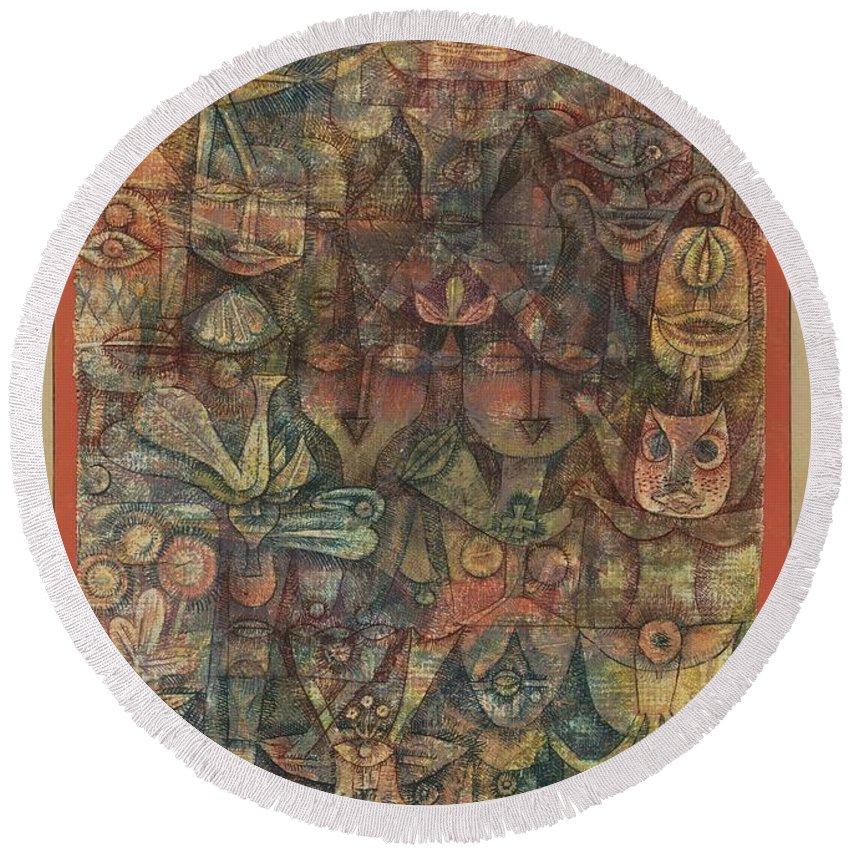Paul Klee Strange Garden Round Beach Towel featuring the painting Strange Garden by Paul Klee