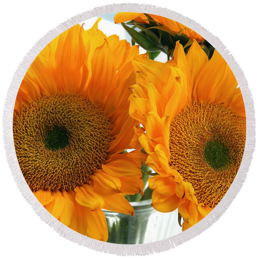 Sunflowers Round Beach Towel featuring the photograph Sunflowers by Todd Blanchard