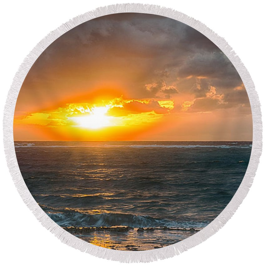 Sunrise At Kapaa - Kauai Round Beach Towel featuring the photograph Sunrise At Kapaa - Kauai by Yefim Bam