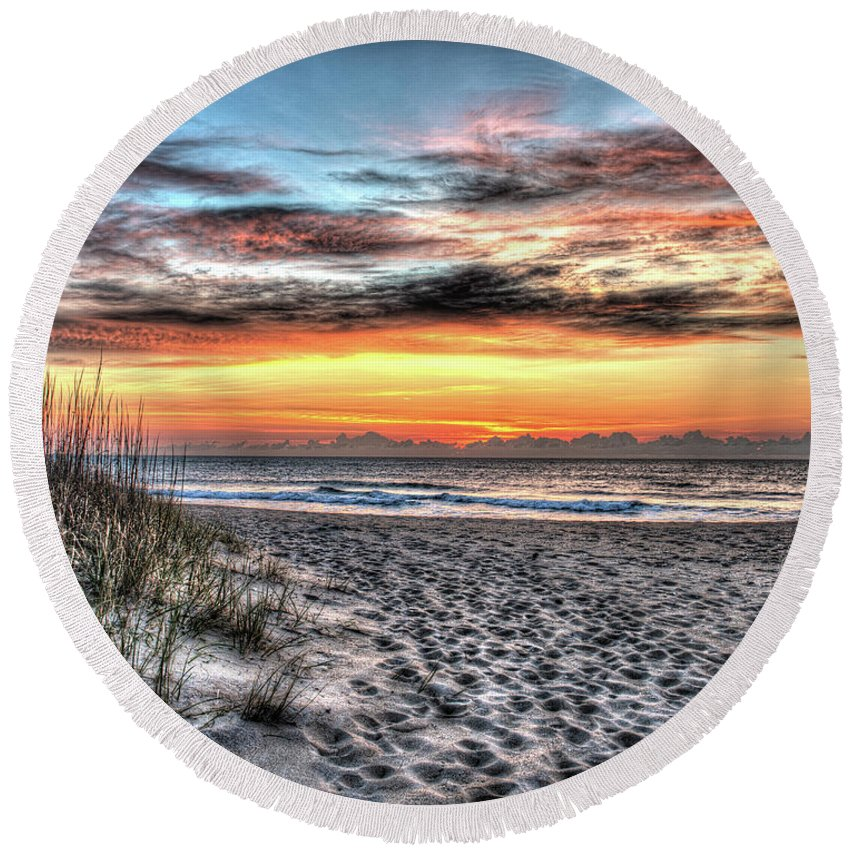 Currituck Beach Round Beach Towel featuring the photograph Sunrise Outer Banks Of North Carolina Seascape by Greg Hager