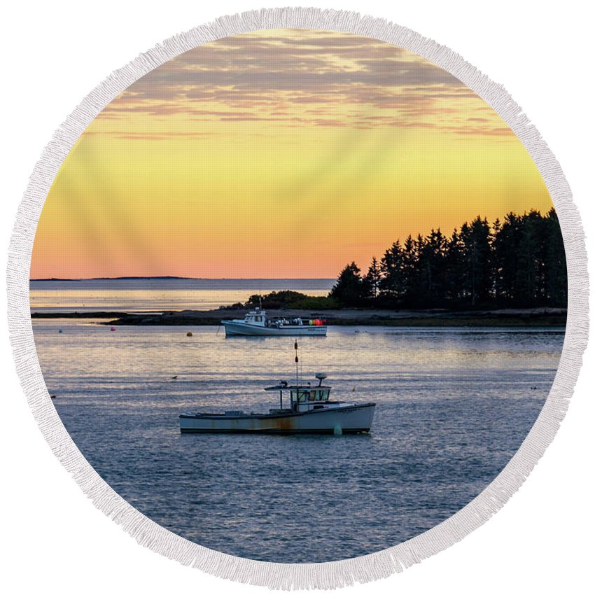 Jonesport Round Beach Towel featuring the photograph Sunset Down East Maine by Trace Kittrell