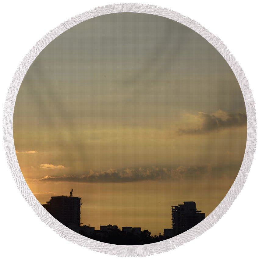 Skyline Of Pune Round Beach Towel featuring the photograph Skyline Of Pune City by Kiran Joshi