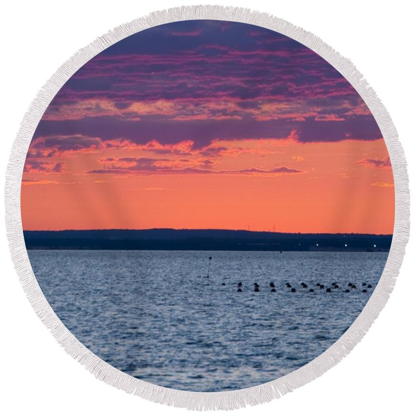 Sunset Round Beach Towel featuring the photograph Sunset by Steven Natanson