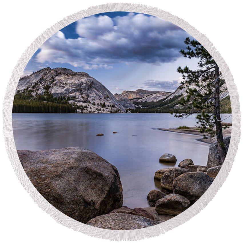 Lake Round Beach Towel featuring the photograph Tenaya Lake by Cat Connor
