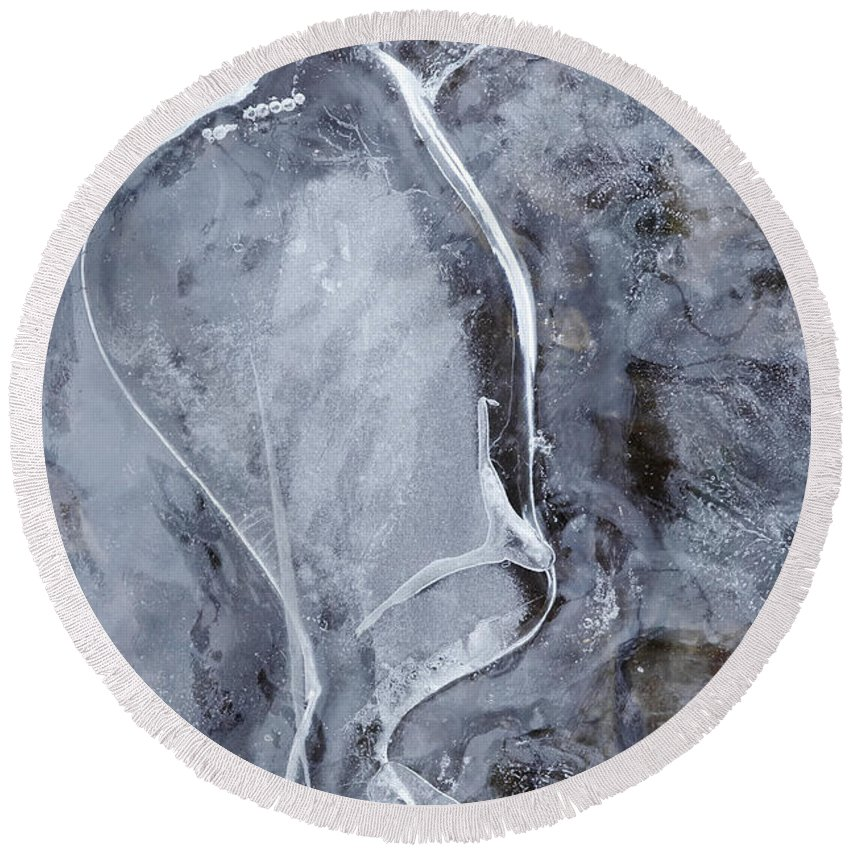 Texture Round Beach Towel featuring the photograph Texture Of Ice by Michal Boubin