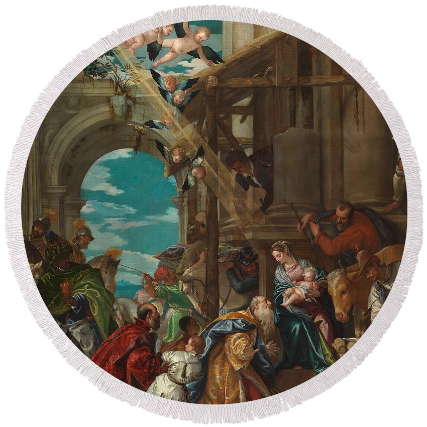 Adoration Round Beach Towel featuring the painting The Adoration Of The Magi by Paolo Veronese