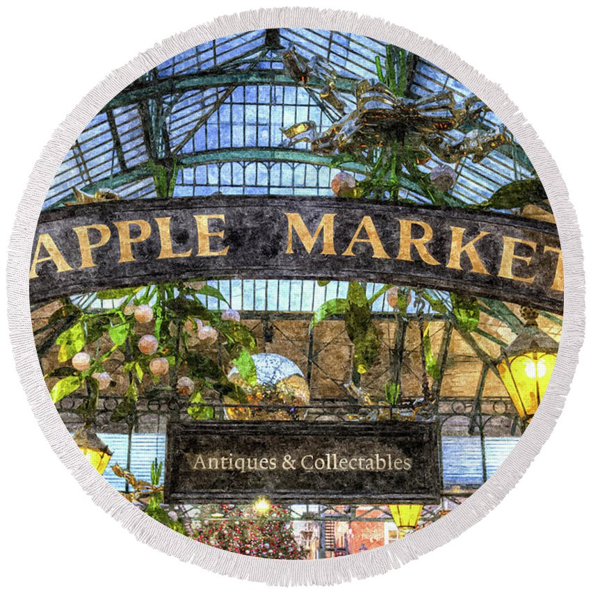 Covent Garden Round Beach Towel featuring the photograph The Apple Market Covent Garden London Art by David Pyatt