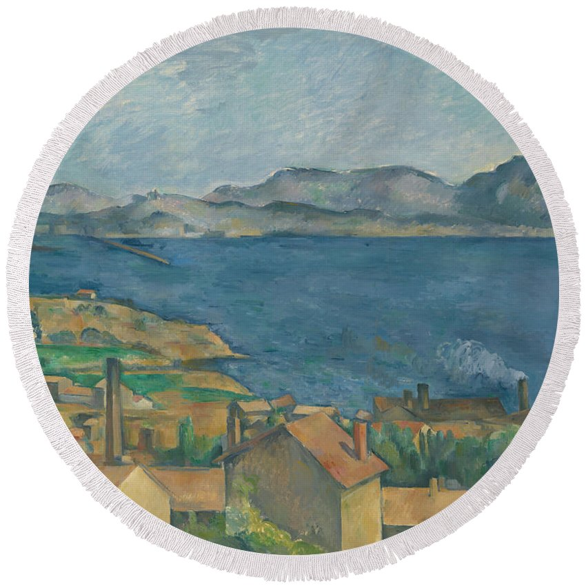 Painting Round Beach Towel featuring the painting The Bay Of Marseilles by Mountain Dreams