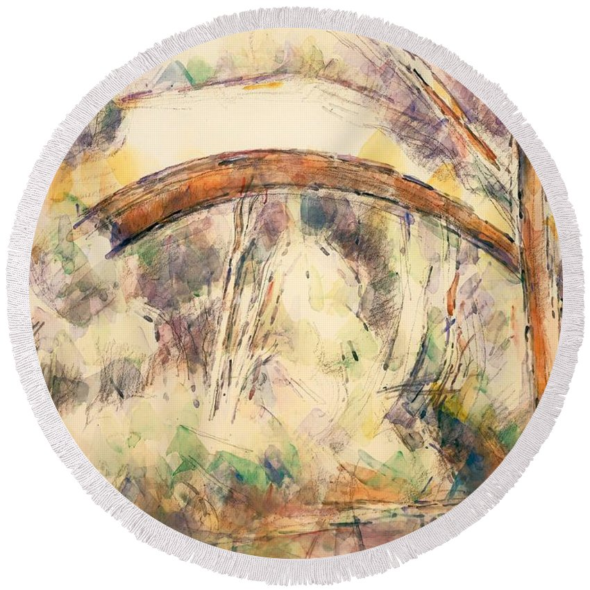 Painting Round Beach Towel featuring the painting The Bridge Of Trois - Sautets by Mountain Dreams