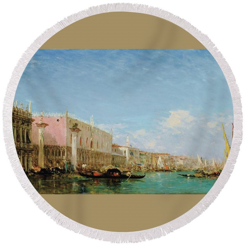 Félix Ziem 1821 - 1911 The Dock Of Slaves Round Beach Towel featuring the painting The Dock Of Slaves by MotionAge Designs
