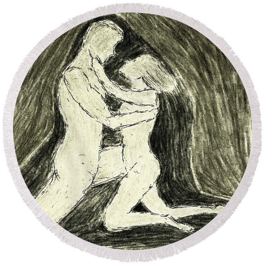 Couple Embracing Round Beach Towel featuring the painting The Embrace by Kate Hopson