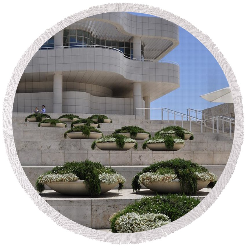 Clay Round Beach Towel featuring the photograph The Getty by Clayton Bruster