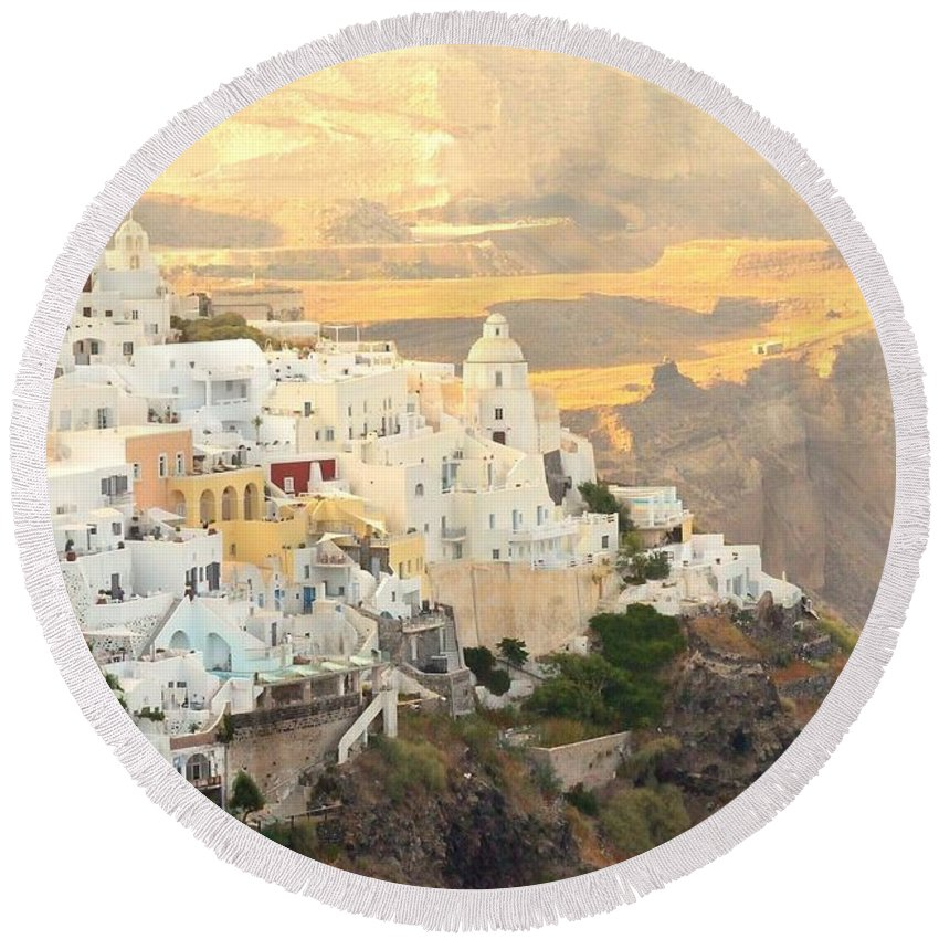 Greece Round Beach Towel featuring the photograph The Golden Hour In Fira by Yinguo Huang