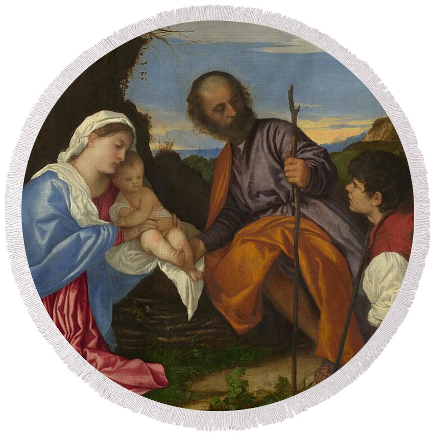 Blessed Virgin Mary Round Beach Towel featuring the painting The Holy Family With A Shepherd by Titian