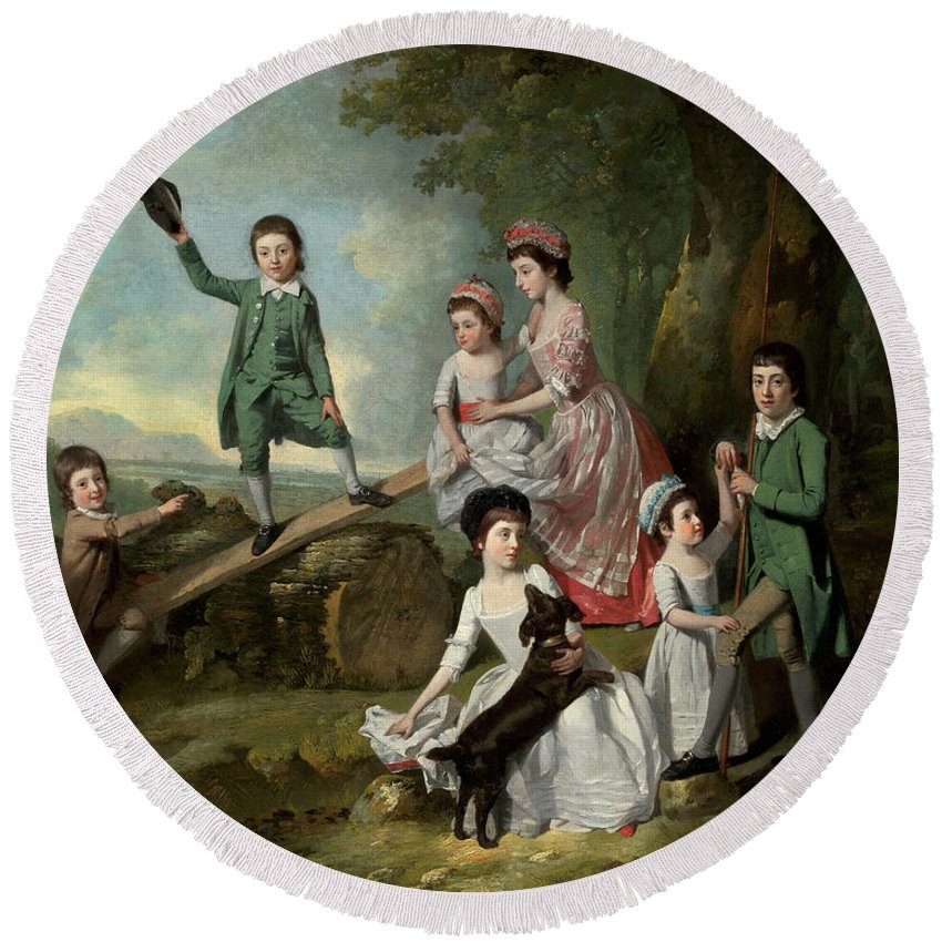 Johann Zoffany Round Beach Towel featuring the painting The Lavie Children by Johann Zoffany