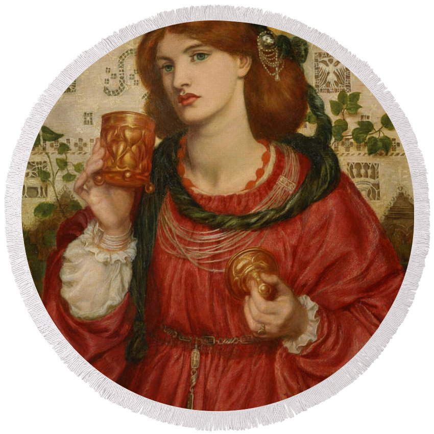 Dante Gabriel Rossetti Round Beach Towel featuring the painting The Loving Cup by Dante Gabriel Rossetti