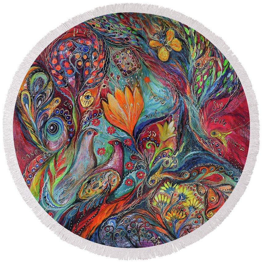 Original Round Beach Towel featuring the painting The Magic Garden by Elena Kotliarker