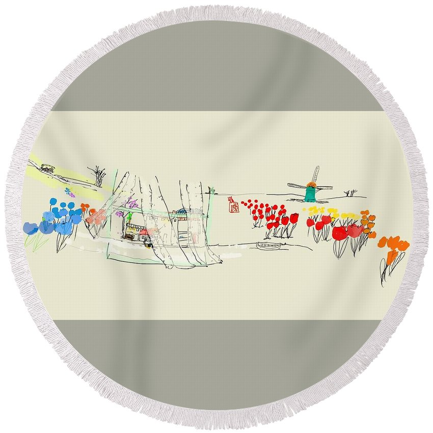 The Netherlands. Landscape. 3d Round Beach Towel featuring the digital art the Netherlands 3D by Debbi Saccomanno Chan