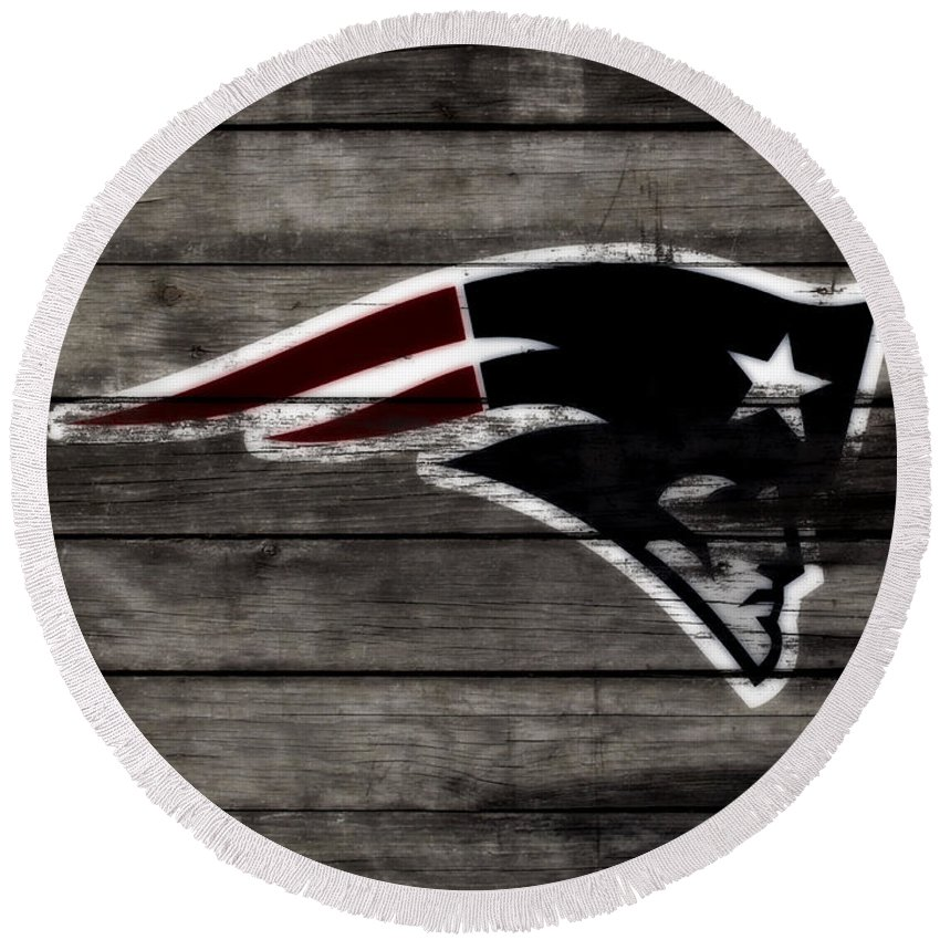The New England Patriots Round Beach Towel featuring the mixed media The New England Patriots 3a by Brian Reaves