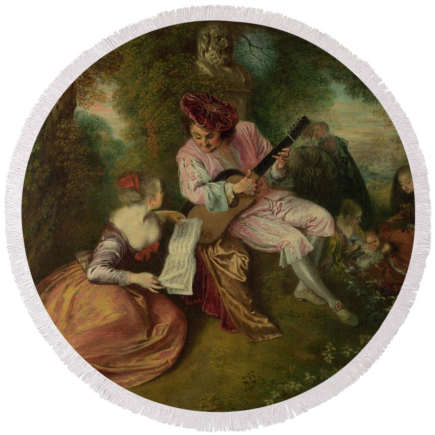 Musical Instruments Round Beach Towel featuring the painting The Scale Of Love by Jean-Antoine Watteau