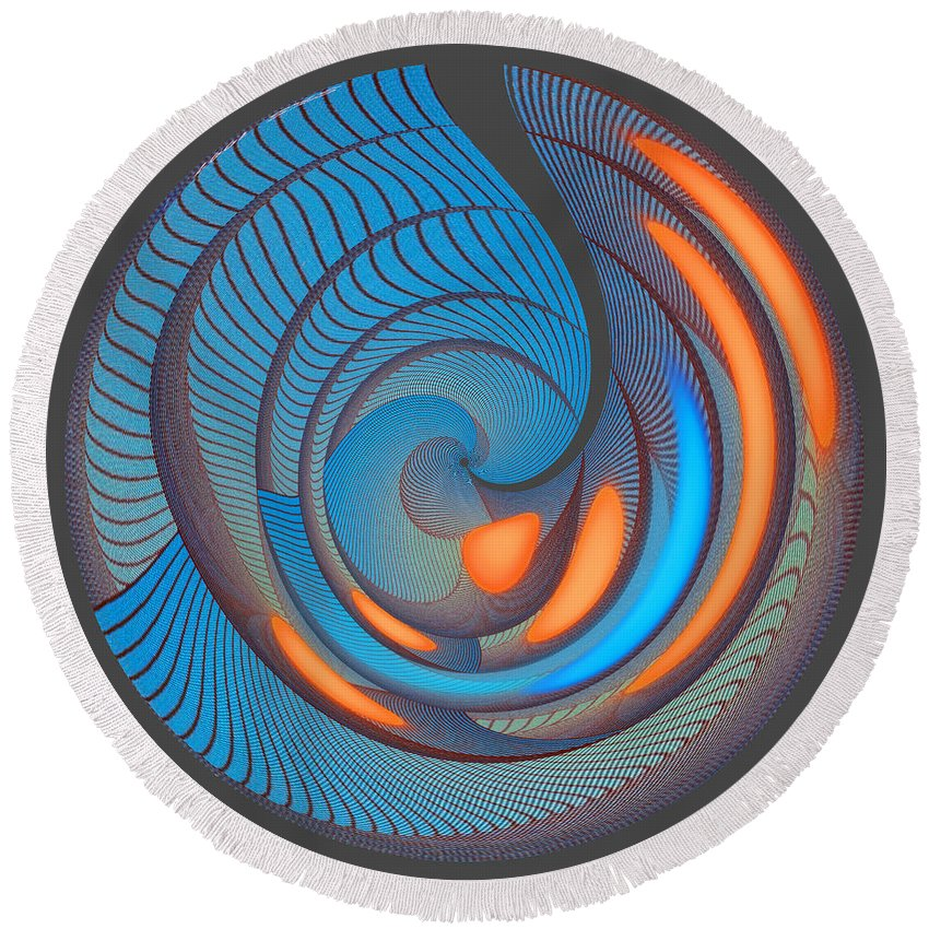 Round Beach Towel featuring the digital art The Seventh Opinion Top View by Steven Kelly Smith