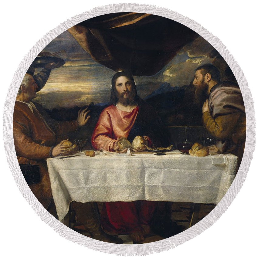 Christ Round Beach Towel featuring the painting The Supper At Emmaus by Titian